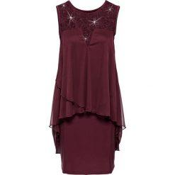 Sukienki: Sukienka z dżerseju i szyfonu bonprix ciemnoczerwony