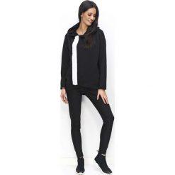 Bluzy rozpinane damskie: Czarna Bluza na Suwak z Kapturem