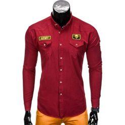 KOSZULA MĘSKA Z DŁUGIM RĘKAWEM K361 - BORDOWA. Czerwone koszule męskie na spinki Ombre Clothing, m, z aplikacjami, z kontrastowym kołnierzykiem, z długim rękawem. Za 79,00 zł.