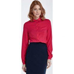 Bluzki damskie: Fuksja Bluzka Koszulowa z Okrągłym Kołnierzykiem