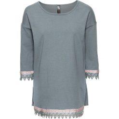 Swetry klasyczne damskie: Sweter z szydełkową plisą bonprix niebiesko-szary
