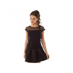 Bluzka Eva z siateczką i wstawką czarna ED017-2. Czarne bluzki wizytowe Ella dora, xl, z dzianiny, eleganckie, z falbankami. Za 139,00 zł.