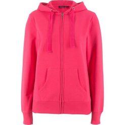 Bluza rozpinana bonprix różowy hibiskus. Czerwone bluzy rozpinane damskie bonprix, w paski, z kapturem. Za 59,99 zł.