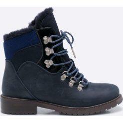 Emu Australia - Botki. Czarne buty zimowe damskie EMU Australia, z materiału, z okrągłym noskiem, na obcasie, na sznurówki. W wyprzedaży za 429,90 zł.