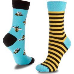 Skarpety Wysokie Unisex MANY MORNINGS - Bee Bee Kolorowy. Niebieskie skarpetki męskie marki Many Mornings, w kolorowe wzory, z bawełny. Za 29,00 zł.