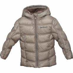 Kurtka zimowa w kolorze beżowym. Czerwone kurtki dziewczęce zimowe marki Peak Mountain, z aplikacjami, z materiału. W wyprzedaży za 165,95 zł.