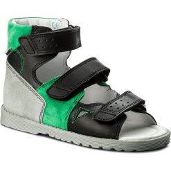 Sandały BARTEK - 86804 Czarno/Zielony. Czarne sandały chłopięce Bartek, ze skóry. Za 209,00 zł.