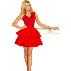 Czerwona  Rozkloszowana Imprezowa Sukienka z Koronką. Czerwone sukienki balowe marki Molly.pl, na imprezę, l, z haftami, z koronki, dopasowane. Za 278,90 zł.