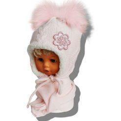 Czapka dziecięca z szalikiem CZ+S 019NB różowo-biała r. 46-48. Białe czapeczki niemowlęce marki Proman. Za 58,14 zł.