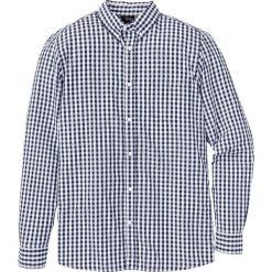 Koszula z długim rękawem Regular Fit bonprix ciemnoniebiesko-biały w kratę. Białe koszule męskie na spinki bonprix, l, z długim rękawem. Za 37,99 zł.