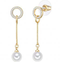 Kolczyki z perłami. Żółte kolczyki damskie Pearls Special, z kryształem, szklane. W wyprzedaży za 77,95 zł.