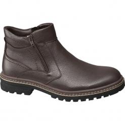 Kozaki męskie Highland Creek brązowe. Brązowe buty zimowe męskie Highland Creek, z materiału, na zamek. Za 159,90 zł.