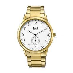 Biżuteria i zegarki męskie: Zegarek Q&Q Męski QA60-004 Klasyczny złoty