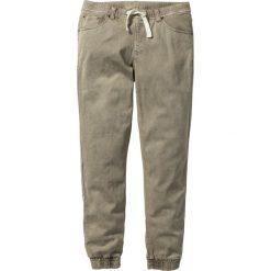 Spodnie ze stretchem, bez zamka SLIM FIT STRAIGHT bonprix jasnooliwkowy. Zielone joggery męskie marki bonprix. Za 119,99 zł.