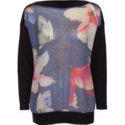 Swetry klasyczne damskie: Sweter bonprix niebiesko-koralowo-beżowo-czarny wzorzysty