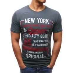 T-shirty męskie z nadrukiem: T-shirt męski z nadrukiem grafitowy (rx2619)