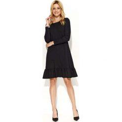 Sukienki balowe: Czarna Wyjściowa Luźna Sukienka z Falbanką