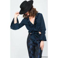 Koszule damskie: Granatowa koszula z falbanami