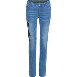 """Dżinsy z koronką bonprix niebieski """"bleached"""" z niebieską koronką. Niebieskie jeansy damskie marki House, z jeansu. Za 149,99 zł."""