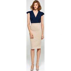 Spódnice wieczorowe: Beżowa Elegancka Ołówkowa Spódnica do Kolan