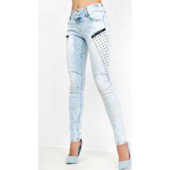 Rurki damskie: Jasne rurki jeans z zamkami i nitami