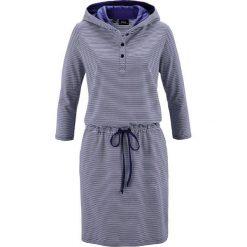 Sukienki: Sukienka shirtowa z kapturem bonprix kobaltowo-biały w paski
