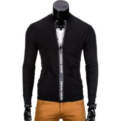 BLUZA MĘSKA ROZPINANA BEZ KAPTURA B681 - CZARNA. Czarne bluzy męskie rozpinane marki Ombre Clothing, m, bez kaptura. Za 59,00 zł.