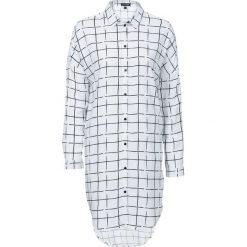 Bluzki damskie: Długa bluzka z opuszczanymi ramionami bonprix biało-czarny w kratę