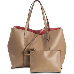 Shopper bag damskie: Torba shopper dwustronna bonprix koralowo-wielbłądzia wełna