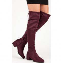BORDOWE ZAMSZOWE KOZAKI. Czerwone buty zimowe damskie QUEENTINA, z zamszu. Za 143,00 zł.