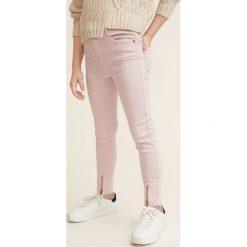 Mango Kids - Jeansy dziecięce Petra 110-164 cm. Szare rurki dziewczęce Mango Kids, z aplikacjami, z bawełny. Za 99,90 zł.