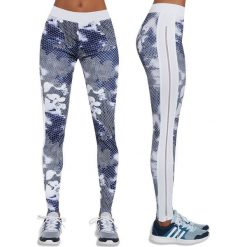 Spodnie damskie: Bas-Bleu Legginsy damskie Bas Black Code biało-niebieskie r. XL (BB12541)