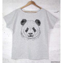 T-shirty damskie: PANDA koszulka bawełniana szara z nadrukiem