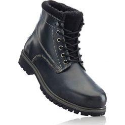 Buty zimowe męskie: Botki skórzane sznurowane bonprix czarny