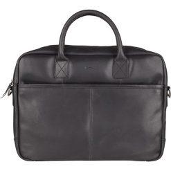 Skórzana torebka w kolorze czarnym na laptop - 40 x 29 x 5 cm. Czarne torby na laptopa marki Bloomsbury, w paski, ze skóry. W wyprzedaży za 253,95 zł.