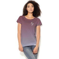 Colour Pleasure Koszulka damska CP-034  290 brązowo-szara r. M-L. Fioletowe bluzki damskie marki Colour pleasure, uniwersalny. Za 70,35 zł.