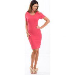 Koralowa sukienka z odkrytymi ramionami 3556. Niebieskie sukienki marki Reserved, z odkrytymi ramionami. Za 47,20 zł.