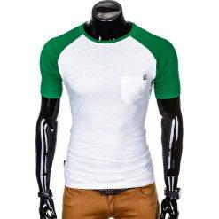 T-SHIRT MĘSKI BEZ NADRUKU S1015 - BIAŁY/ZIELONY. Białe t-shirty męskie z nadrukiem marki Ombre Clothing, m. Za 35,00 zł.