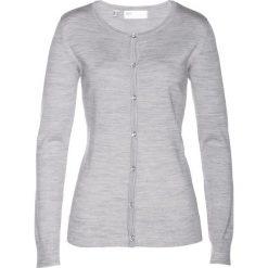 Sweter rozpinany z wełny merino bonprix jasnoszary melanż. Szare kardigany damskie bonprix, melanż, z wełny. Za 179,99 zł.