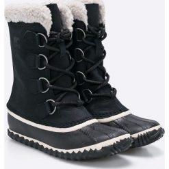Sorel - Śniegowce Caribou Slim. Szare botki damskie na obcasie Sorel, z kauczuku. W wyprzedaży za 399,90 zł.