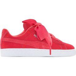 Trampki Jr Suede Heart Valentine. Czerwone buty sportowe dziewczęce Puma, z materiału, na sznurówki. Za 356,96 zł.