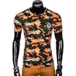 T-SHIRT MĘSKI Z NADRUKIEM S1010 - POMARAŃCZOWY/MORO. Czarne t-shirty męskie z nadrukiem marki Ombre Clothing, m, z bawełny, z kapturem. Za 35,00 zł.