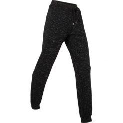 Spodnie sportowe, długie, Level 1 bonprix czarny melanż. Czarne bryczesy damskie marki KIPSTA, l, z bawełny, na fitness i siłownię. Za 109,99 zł.