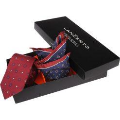 Zestaw Krawat plus Poszetka. Czerwone krawaty męskie LANCERTO, z jedwabiu, biznesowe. Za 159,80 zł.