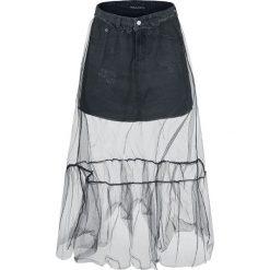 Fashion Victim Jeansrock mit Tülllage Spódnica Mini czarny. Czarne minispódniczki Fashion Victim, xxl, z denimu, oversize. Za 74,90 zł.