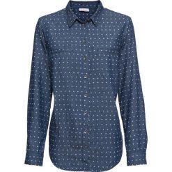 Bluzka dżinsowa z nadrukiem, długi rękaw bonprix niebieski z nadrukiem. Niebieskie bluzki longsleeves bonprix, z nadrukiem. Za 89,99 zł.