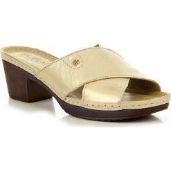 Chodaki damskie: Złote klapki damskie skórzane Helios 224