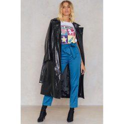 Spodnie z wysokim stanem: Trendyol Spodnie 7/8 z wiązaniem w talii – Blue