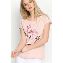 Różowy T-shirt Pink Flamingo. Czerwone bluzki damskie marki Born2be, l. Za 29,99 zł.