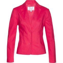 Żakiet lniany bonprix różowy hibiskus. Czerwone marynarki i żakiety damskie bonprix, ze lnu. Za 149,99 zł.
